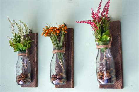 hanging milk bottle wall vases wall mounted flower vases