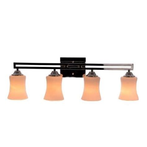 hton bay 4 light polished nickel dual bar vanity light