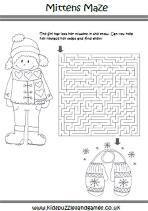 printable mitten maze winter puzzle sheets kids puzzles and games