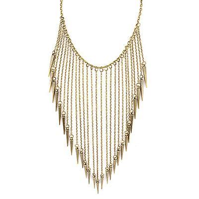 Kalung Fashion Choker Waterdrop Shape Pendant Flower Chain revealing gold color rivet tassels asujewelry