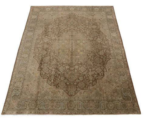 Vintage Persian Tabriz Area Rug In Neutral Colors For Sale Neutral Color Area Rugs