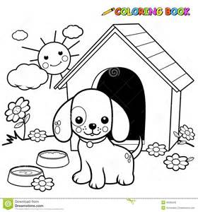 Image Of A Dog Standing Outside His Doghouse Coloring Book Page sketch template