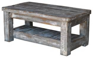 Weathered Coffee Table Weathered Coffee Table With Shelf Gray Rustic Coffee Tables By Doug And Cristy Designs
