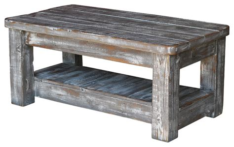 Weathered Coffee Table With Shelf, Gray   Rustic   Coffee