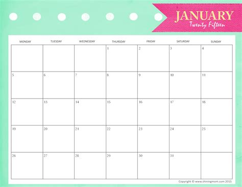 free printable january 2015 planner 2015 monthly calendar printable pdf