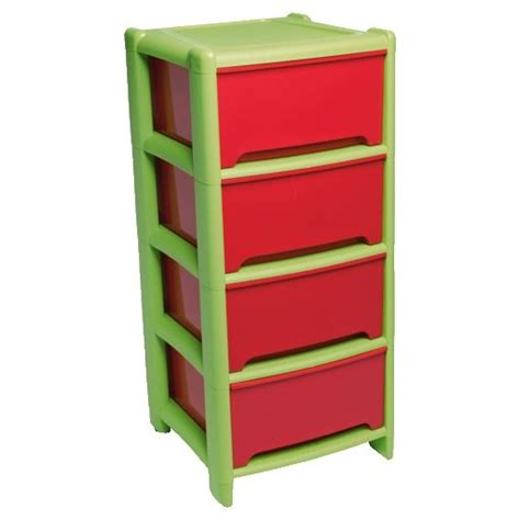 4 drawer plastic storage unit tesco wham 4 drawer red green storage tower unit durable