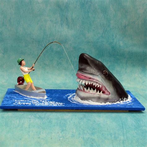jaws boat cake fishing jaws people figurines special cakes