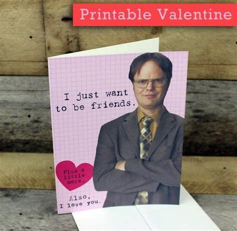 dwight schrute valentine card printable  office funny