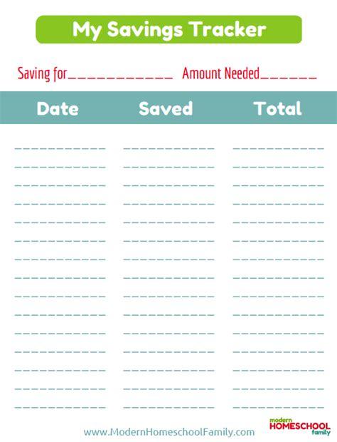 free printable savings tracker for kids