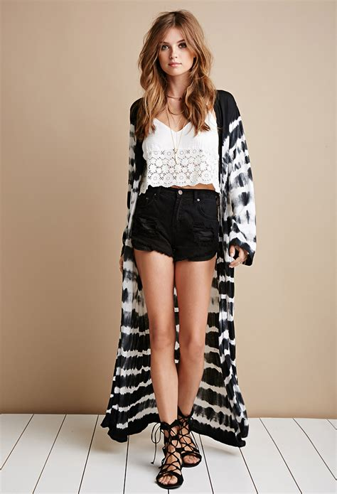 20110 Black White Cardigan lyst forever 21 raga tie dye maxi cardigan in black