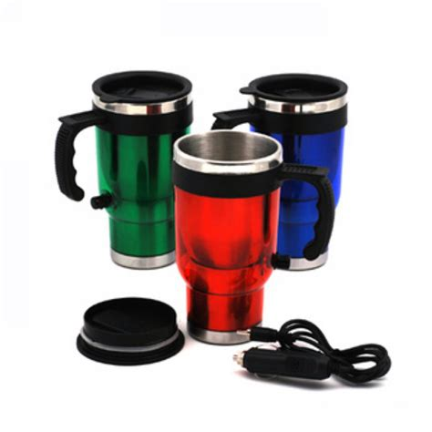 Elektric Heating Cup 13cm new 500ml electric stainless steel travel car coffee tea heated cup mug 12v for vehicle auto