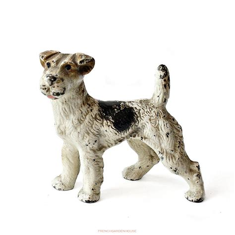 dog house cast cast iron hubley dog figure fox terrier paper weight