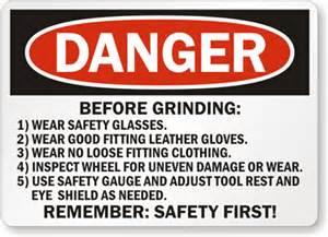 Pedestal Bench Grinder Grinder Safety Signs Wear Face Shield Eye Protection