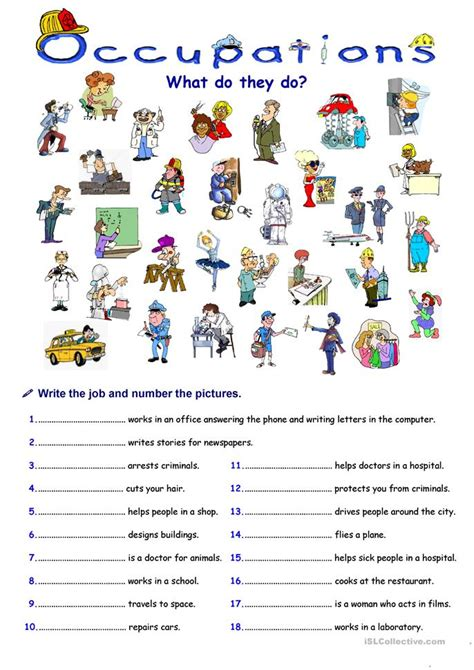 Free Printable English Worksheets Occupations | occupations worksheet free esl printable worksheets made