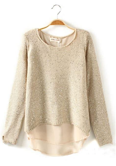 Bell Sleeve Wool Blend Knit Top beige plain sequin sleeve wool blend sweater