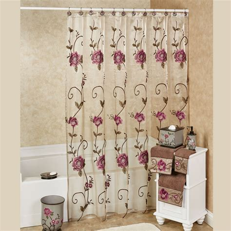 flowered shower curtains larissa embroidered floral sheer shower curtain