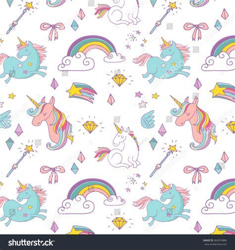pattern magic italiano magic hand drawn pattern unicorn rainbow stock vector
