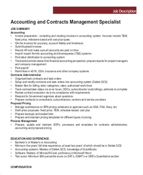 contract manager description 28 images contractor general resume sle it descriptions 7 free