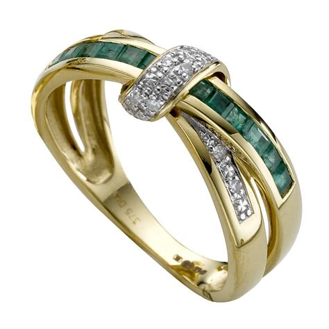 9ct gold treated emerald crossover ring h