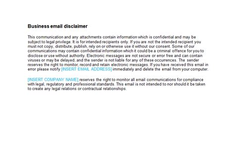 email disclaimer template bizorb