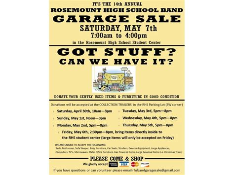 College Garage Sale by Rosemount High School Band Garage Sale Collection Dates