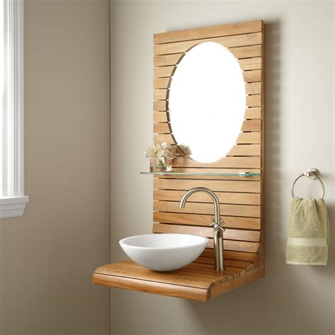 bathroom wall vanity signature hardware 24 quot kyger teak wall mount vanity with