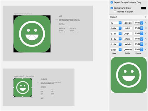 android icon size smart icon export for ios and android sketch freebie free resource for sketch