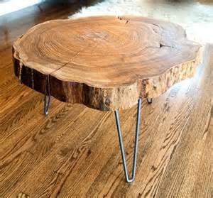 Wood Slice Coffee Table - como fazer uma mesa de tronco homens da casa