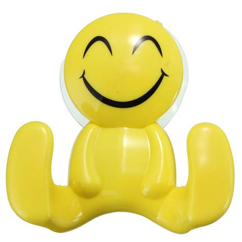 Cartoon smile clothes hook sundries hanger bathroom wall mounted towel holder with sucker alex nld