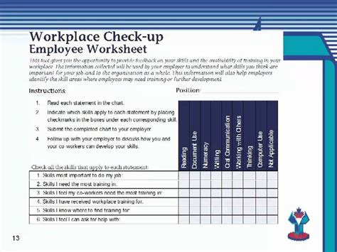 essential skills workplace needs assessments and individual needs analysis