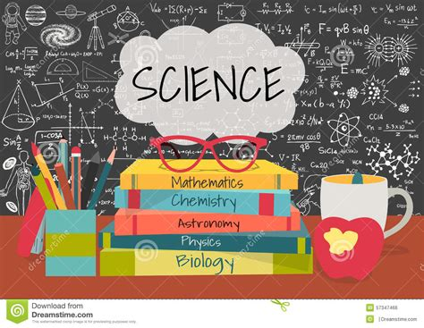 science in the text books science in speech bubbles above science books pens box apple and mug with science doodles on