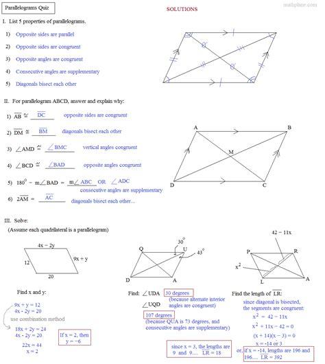 Special Parallelograms Worksheet