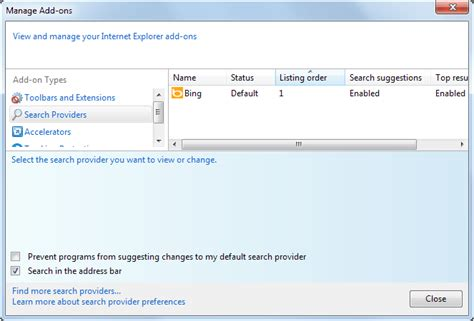 search engine explorer how to change and add search providers to internet