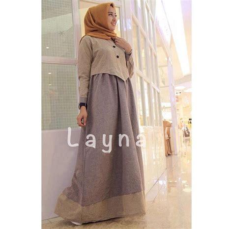 Gamis Remaja Denim Gamis Remaja Layna Maxi Denim Oxford Baju Muslim Modern