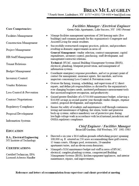 resume format for project engineer electrical facility manager electrical engineer resume