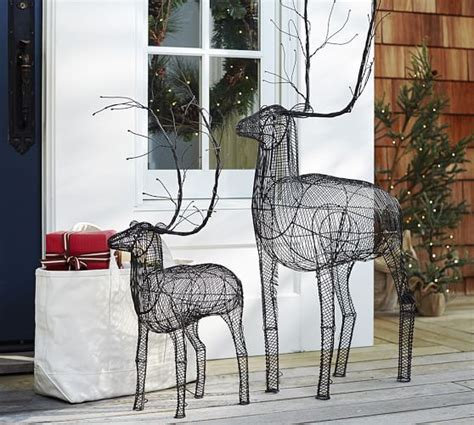 outdoor woven metal reindeer pottery barn