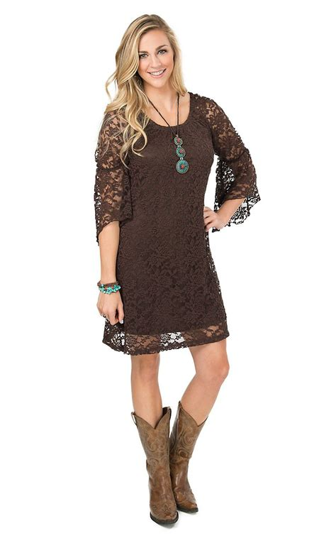 what to wear with light brown boots jody women s brown lace 3 4 bell sleeve dress cowgirl