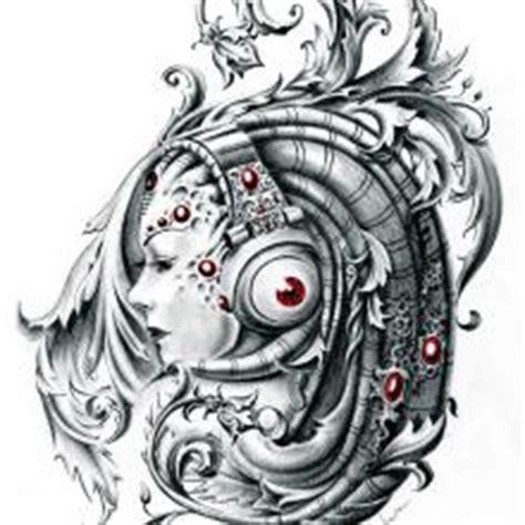 biomechanical portrait tattoo big tattoo planet black and grey portrait biomechanical