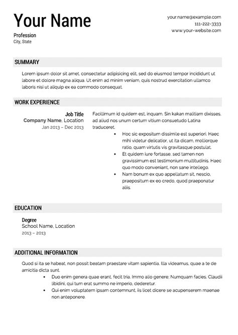 template for resume resume template resume cv template exles