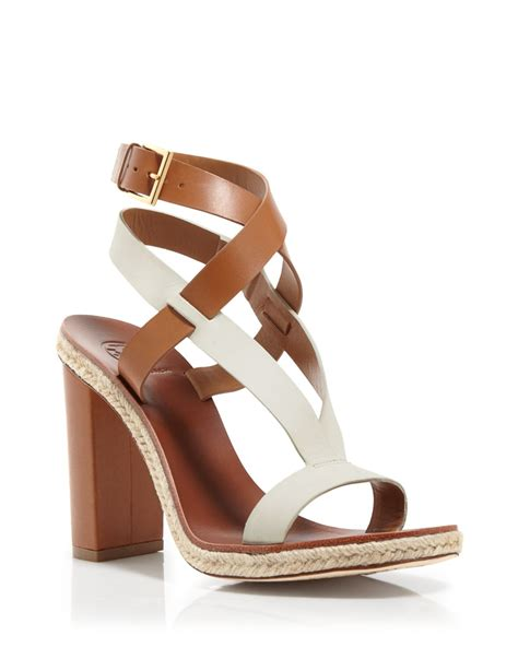 burch two tone strappy sandals marbella high heel in brown lyst