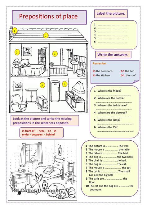 house printable exercises prepositions of place koulu en pinterest