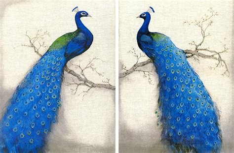 Painting 200x80cm 2 Peacock aliexpress buy beautiful blue peacock 2 panel unframed wall hanging paintings pictures for