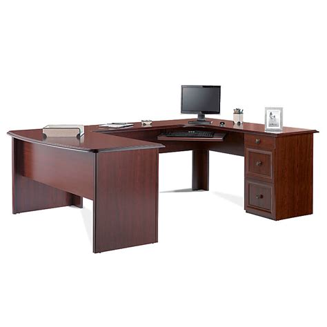 Realspace Broadstreet Contoured U Shaped Desk Realspace Broadstreet Contoured U Shaped Desk W Hutch Cherry 475994 476039 Desks Tables