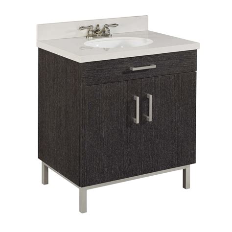 Lowes Bathroom Vanities With Tops Shop Style Selections Bradstreet Driftwood Undermount Single Sink Bathroom Vanity With Cultured