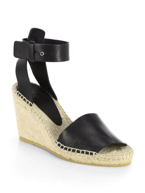 wedge sandals black vince leather espadrille wedge sandals in black lyst