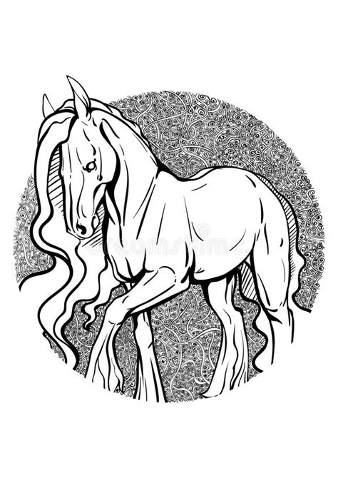 Cavalo Do Livro Para Colorir Ilustração do Vetor
