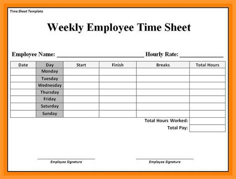 Time Card Template Free Employee by 8 9 Timecard Template Proposalsheet