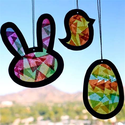 Stained Glass Tissue Paper Craft - easter suncatcher template recipe sun