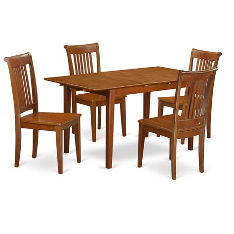 5 pc kitchen table set table with leaf and 4 kitchen chairs