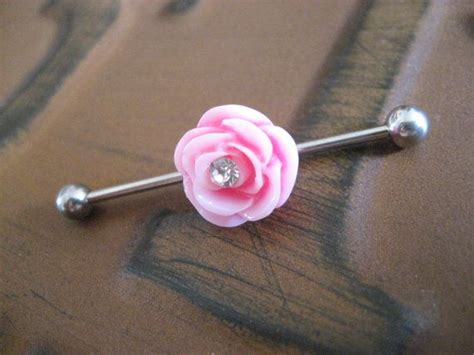 industrial barbell piercing bar earring jewelry pink